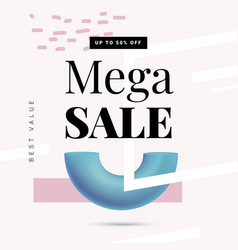 mega sale offer banner template in trendy memphis vector image