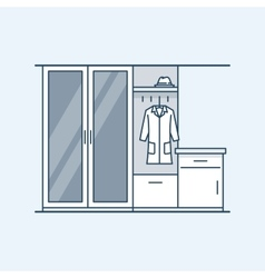 Modern interior hallway with a wardrobe and a vector image