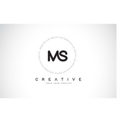 Ms m s logo design with black and white creative vector