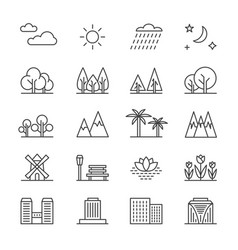 nature landscape line elements and houses vector image