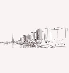 paris eiffel tower and river seine cityscape long vector image