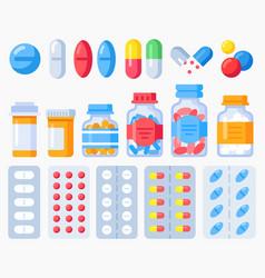 pharmaceutical pills medicine bottles and pills vector image