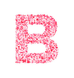 Pink red valentines day heartshapes font letter b vector