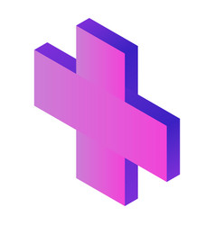 purple plus sign icon isometric style vector image