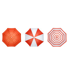 red and white realistic umbrella set from top view vector image