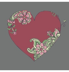 Red heart with fancy floral ornament vector