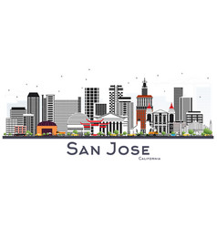 san jose california skyline with gray buildings vector image