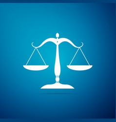 scales of justice icon isolated on blue background vector image