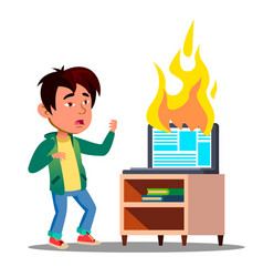 Scared asian kid next to burst into flame laptop vector