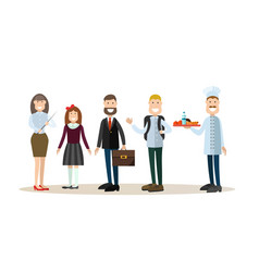 school people in flat style vector image
