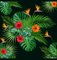 Seamless botanical exotic pattern with vector