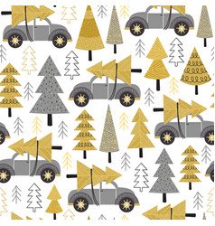 Seamless pattern gold christmas trees and car vector