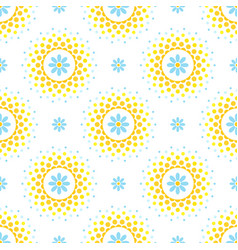 seamless pattern with blue flowers and orange and vector image