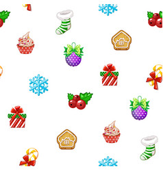seamless pattern with icons happy new year and vector image