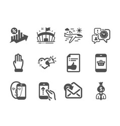Set business icons such as approved document vector