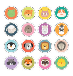 set cute animal faces stickers vector image