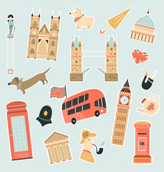 set of stickers with london landmarks and symbols vector image
