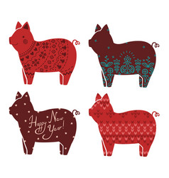 Set of stylized pigs new year knitted ornamental vector