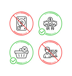 Sharing economy hdd and delete purchase icons set vector