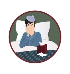 Sick man in bed with fever and with thermometer in vector image