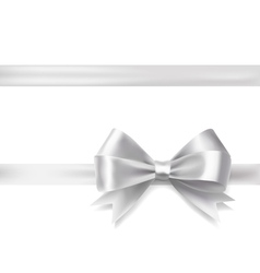 Silver ribbon bow vector
