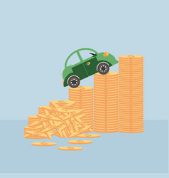 small car on coin stacks vector image vector image