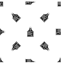 small house pattern seamless black vector image