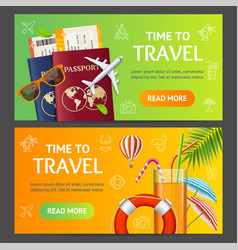 Summer travel and tourism service banner vector