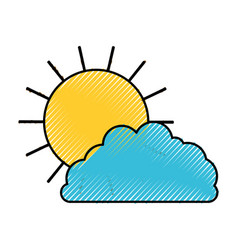 Sun and cloud colored crayon silhouette vector