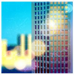 sunlit skyscraper vector image