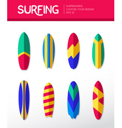Surfing boards - modern flat design icons vector