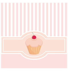 Sweet pink card or invitation with muffin cupcake vector image