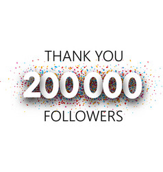 Thank you 200000 followers poster with colorful vector