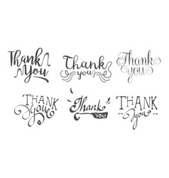 thank you retro hand drawn labels set vector image