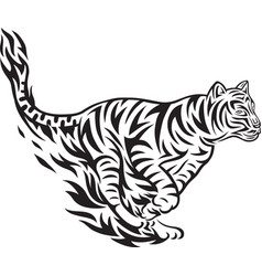Tiger jumping tribal vector