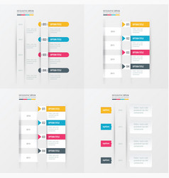 timeline design 4 item yellow blue pink color vector image
