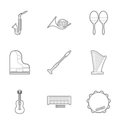 tools for music icons set outline style vector image