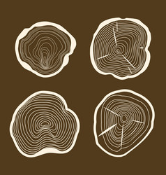 tree rings set saw cut trunk on a brown background vector image