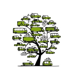 Tree with green cars transportation concept for vector image