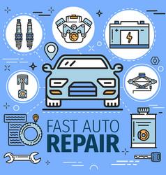 vehicle repair service diagnostics spare parts vector image