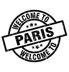 Welcome to paris black stamp vector