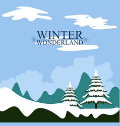 Winter wonderland landscape christmas season vector