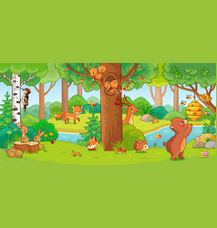 With cute forest animals in a vector