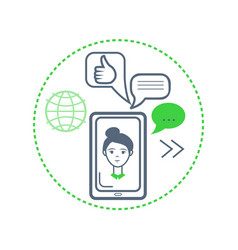 woman face on smartphone globe and ok sign vector image