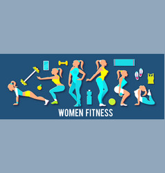 workout fitness girl set 3d paper art heath vector image