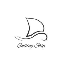black sailing ship logo vector image
