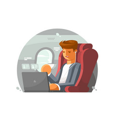 businessman on plane vector image vector image