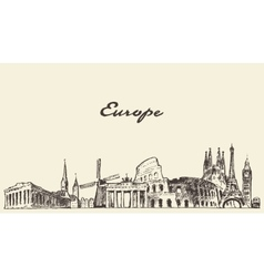 Europe skyline drawn sketch vector image vector image