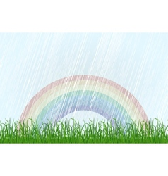 Landscape with grass and rainbow vector