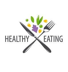 logo fork knife and vegetables vector image vector image